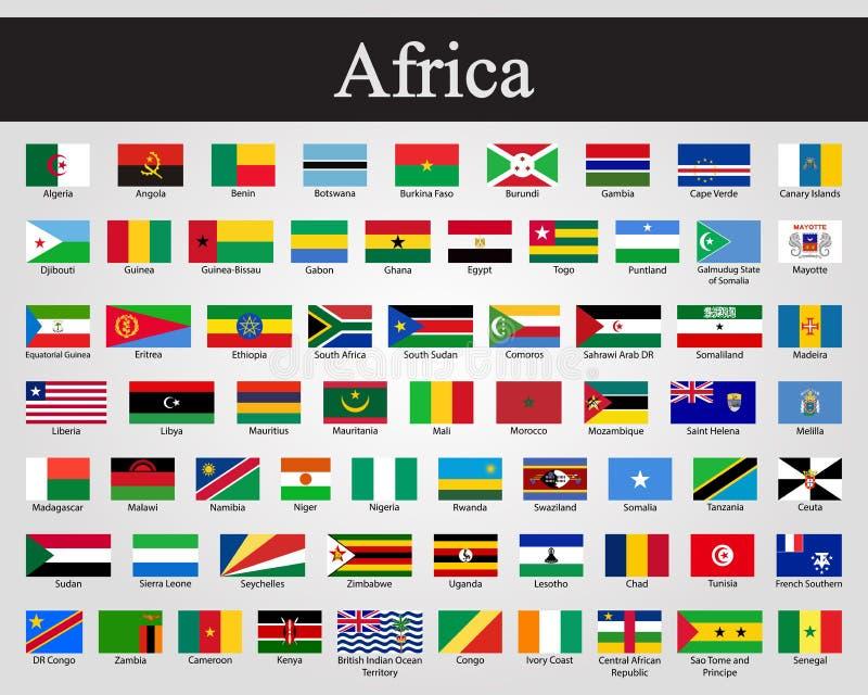 Alla flaggor av Afrika också vektor för coreldrawillustration Världsflaggor vektor illustrationer