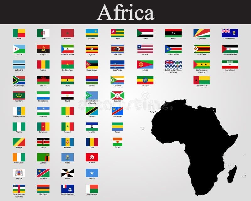 Alla flaggor av Afrika också vektor för coreldrawillustration Världsflaggor royaltyfri illustrationer