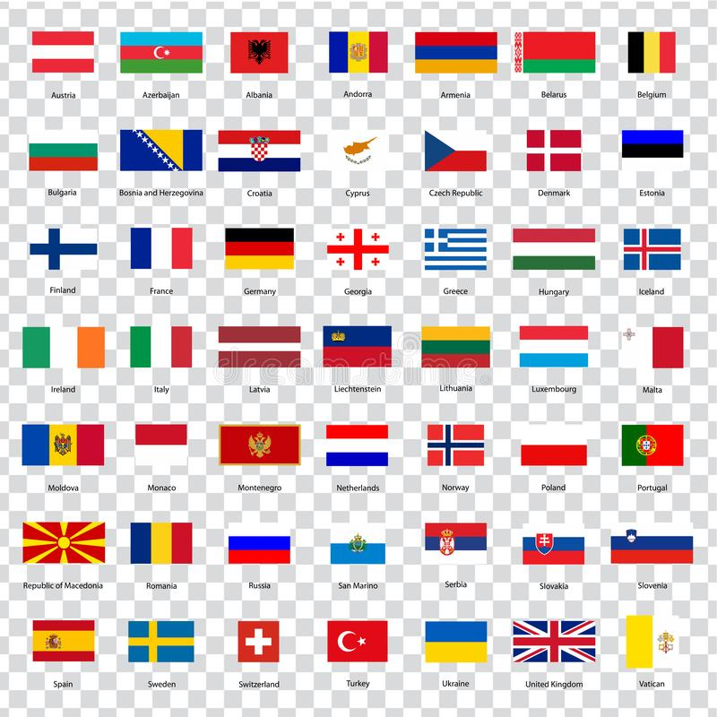 Alla flaggor av länderna av den europeiska unionen Listan sjunker allra av europeiska länder med inskrifter och original- proport royaltyfri illustrationer