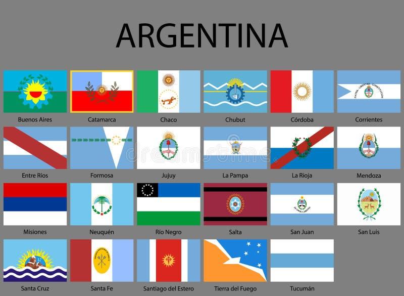 alla flaggor av landskap av Argentina stock illustrationer