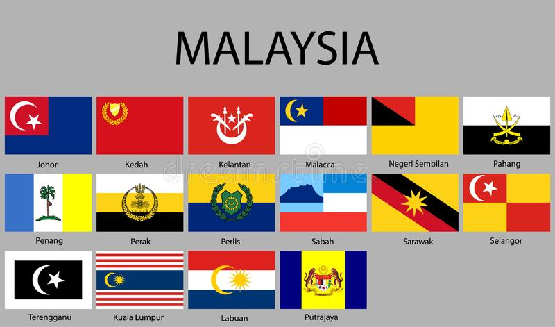 alla flaggor av regioner av Malaysia royaltyfri illustrationer