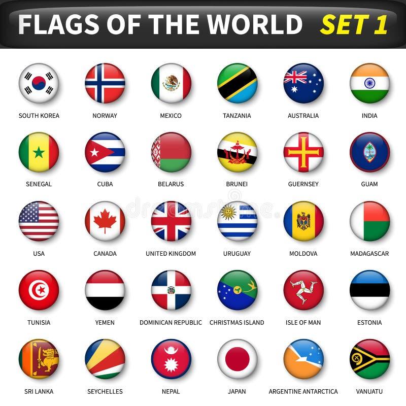 Alla flaggor av världsuppsättningen 1 Cirkel och konvex design vektor illustrationer