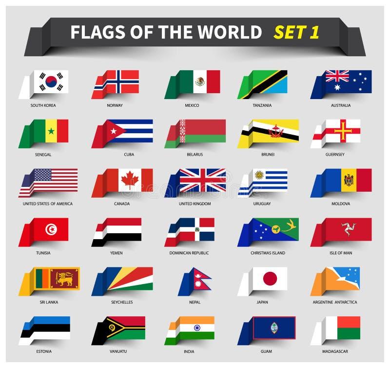 Alla flaggor av världsuppsättningen 1 Vinkande bandstil stock illustrationer