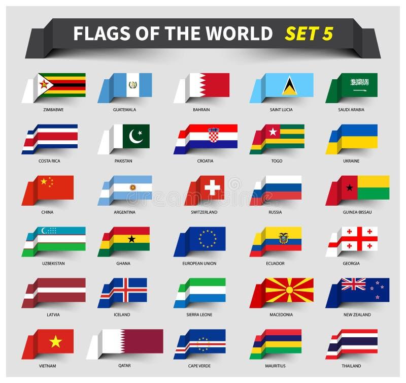 Alla flaggor av världsuppsättningen 5 Vinkande bandstil royaltyfri illustrationer