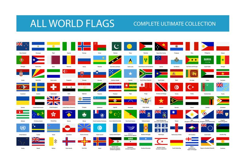 Alla flaggor för vektorvärldsland Del 2 stock illustrationer