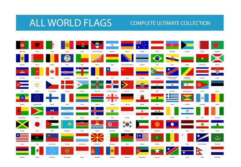Alla flaggor för vektorvärldsland Del 1