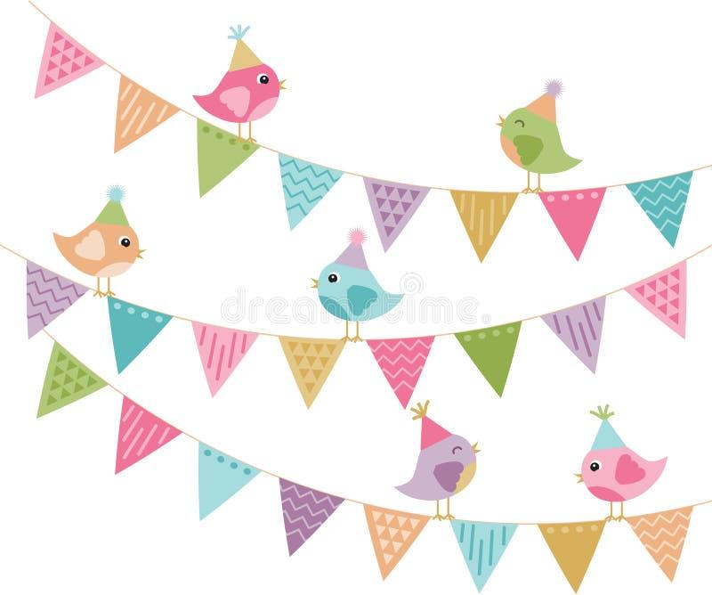 Alla inviterade gulliga partifåglar och Bunting royaltyfri illustrationer