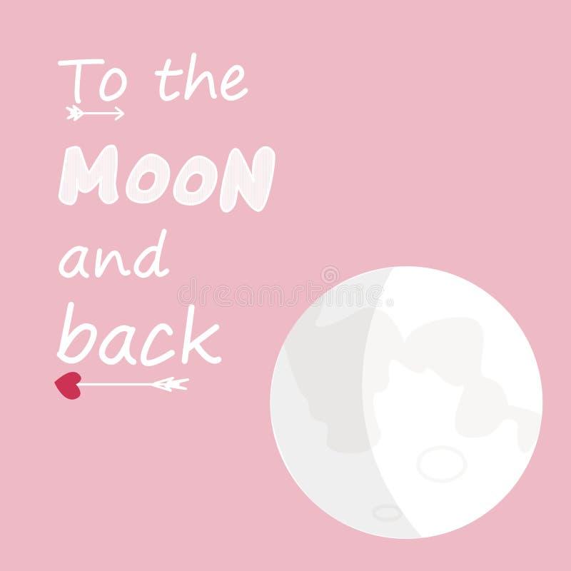 Alla luna ed alla parte posteriore illustrazione vettoriale