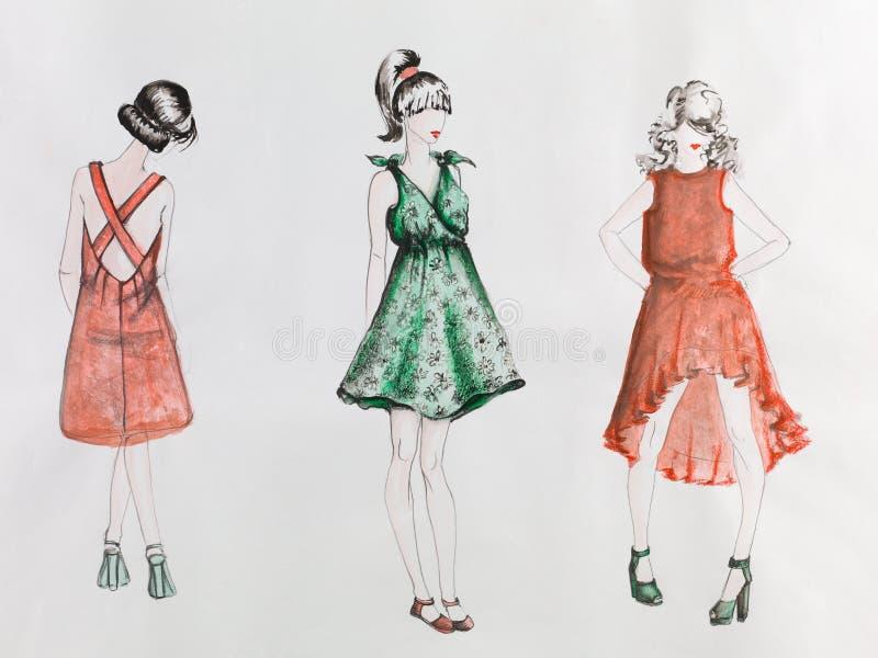 alla några individuella objekt för elementmodeillustrationen skalar formattexturer till vektorkvinnor royaltyfri illustrationer