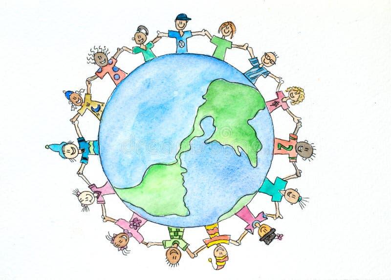 Alla nationer - en vattenfärgmålning royaltyfri illustrationer