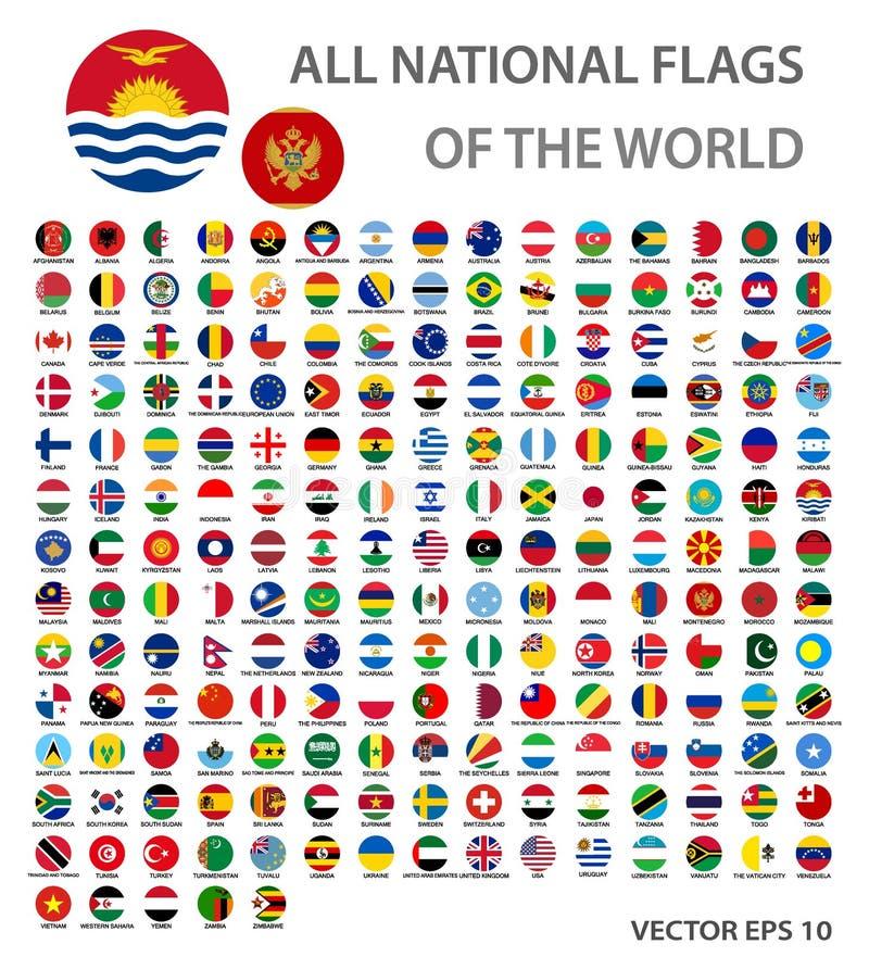 Alla nationsflaggor av världsuppsättningen Den officiella världsflaggacirkeln knäppas, exakta färger vektor illustrationer