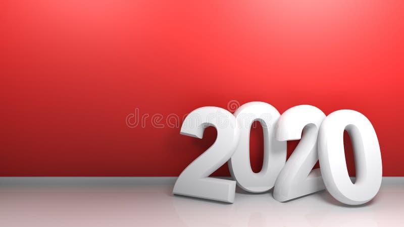 2020 alla parete rossa - rappresentazione 3D fotografia stock libera da diritti