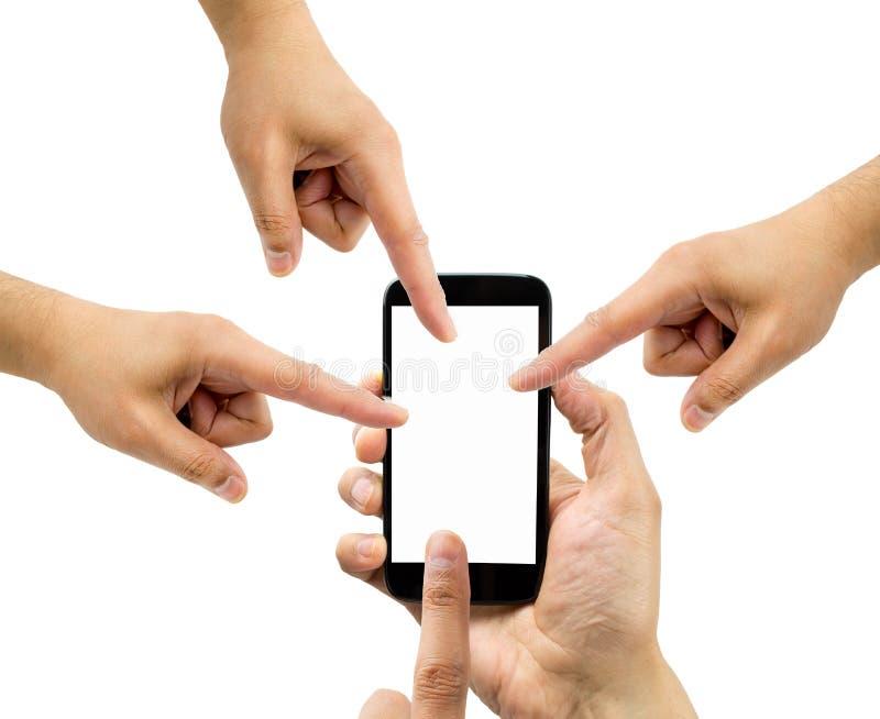 Alla personer som pekar smartphonen royaltyfri fotografi