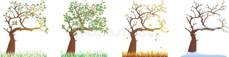alla säsonger vektor illustrationer