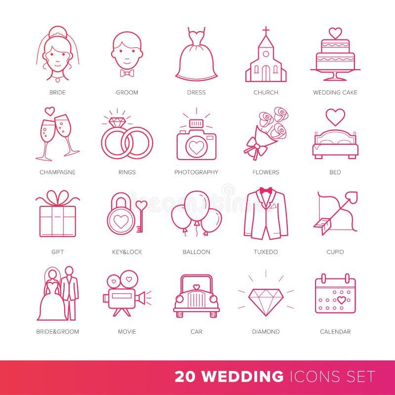 Alla sorter av bröllopförbindelsen eller den fastställda vektorn för brud- symboler stock illustrationer