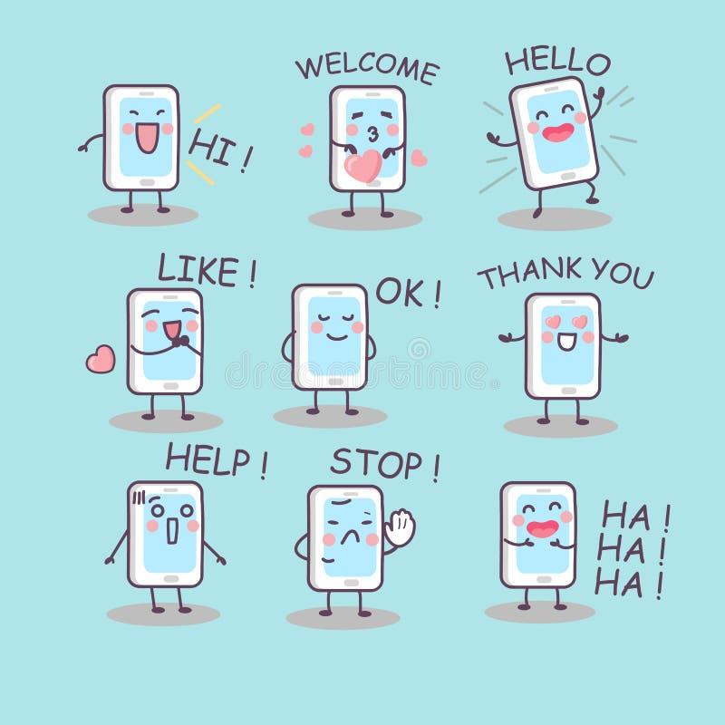 Alla sorter av smartphonesinnesrörelse royaltyfri illustrationer