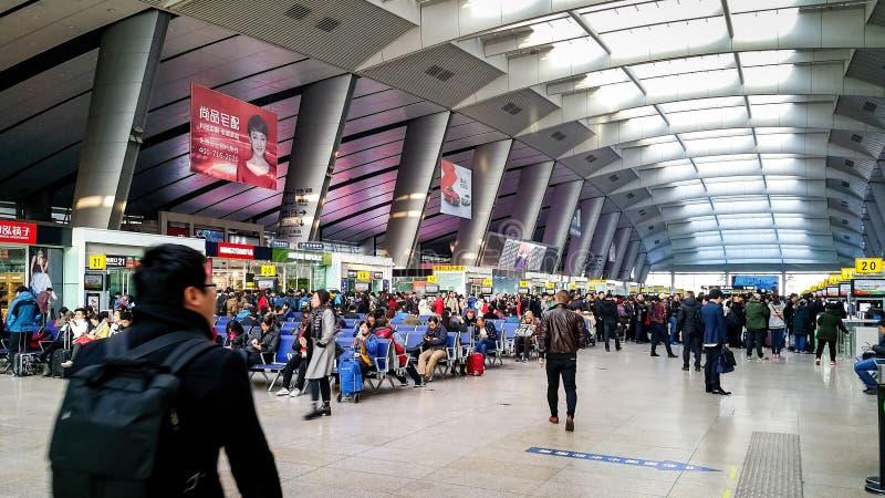 Alla stazione ferroviaria del sud di Pechino Beijingnan, la Cina fotografia stock libera da diritti