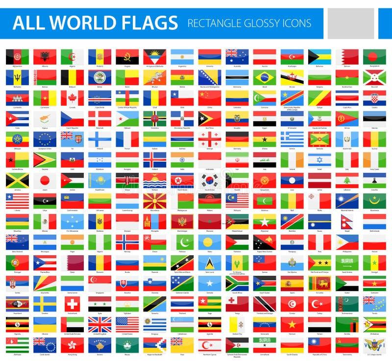 Alla världsflaggor - glansiga vektorsymboler för rektangel vektor illustrationer