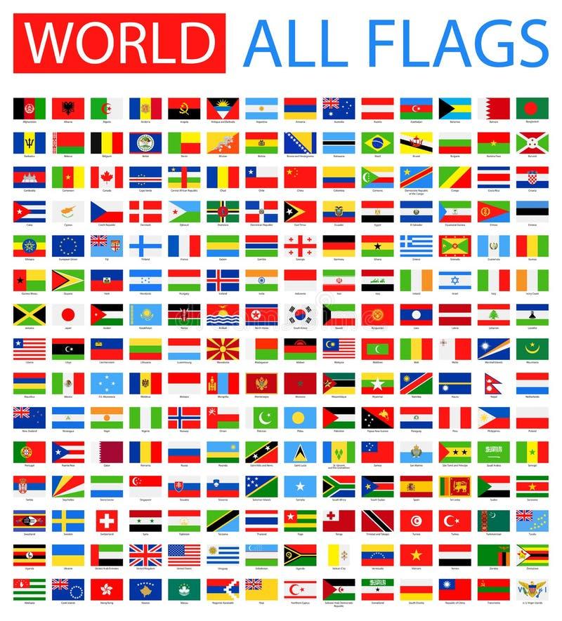 Alla världsvektorflaggor 210 objekt royaltyfri illustrationer