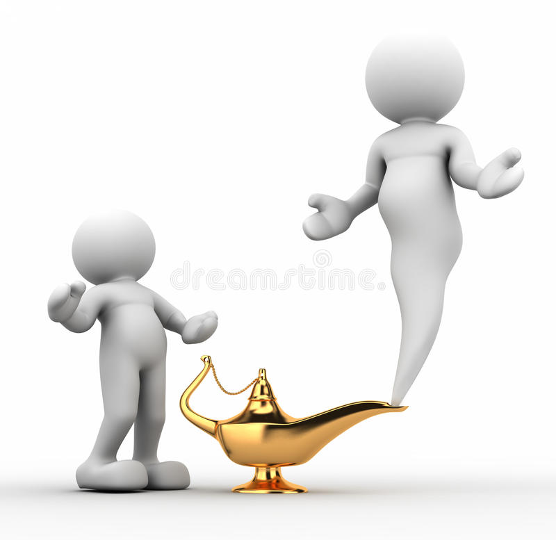 Alladin lamp. A gloden aladin lamp on white background - This is a 3d render illustration vector illustration