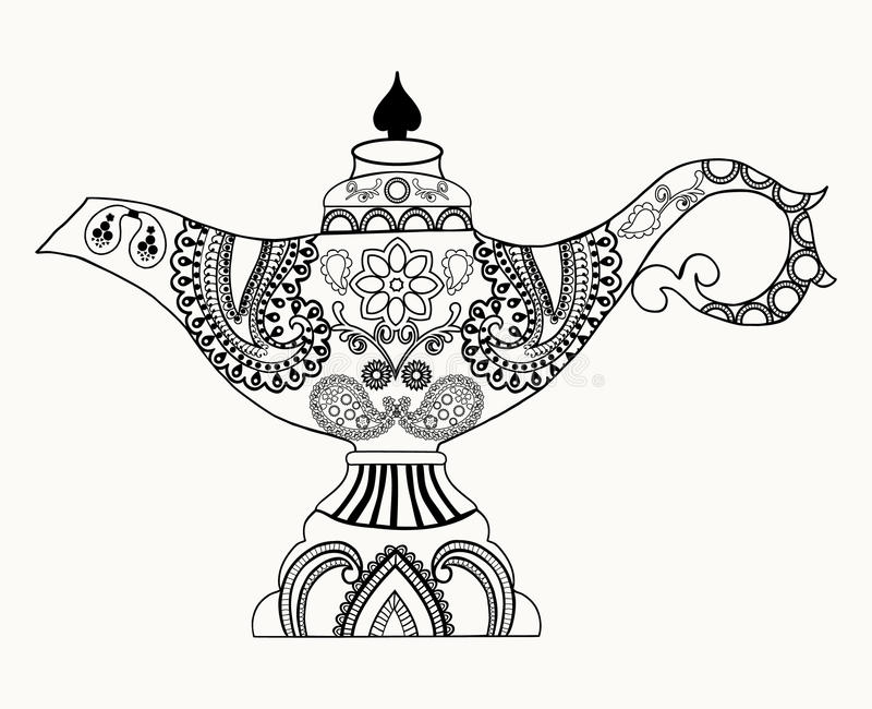 Alladin Magic Lamp line art design royalty free illustration