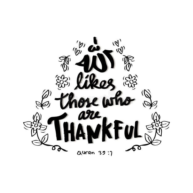 Allah houdt van die is dankbaar stock illustratie
