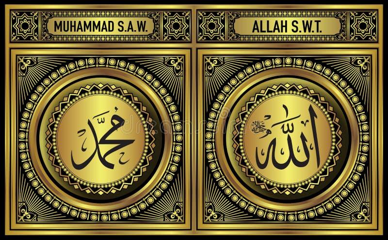 Allah & Muhammad Wall Decoration Print in Gold vector illustration