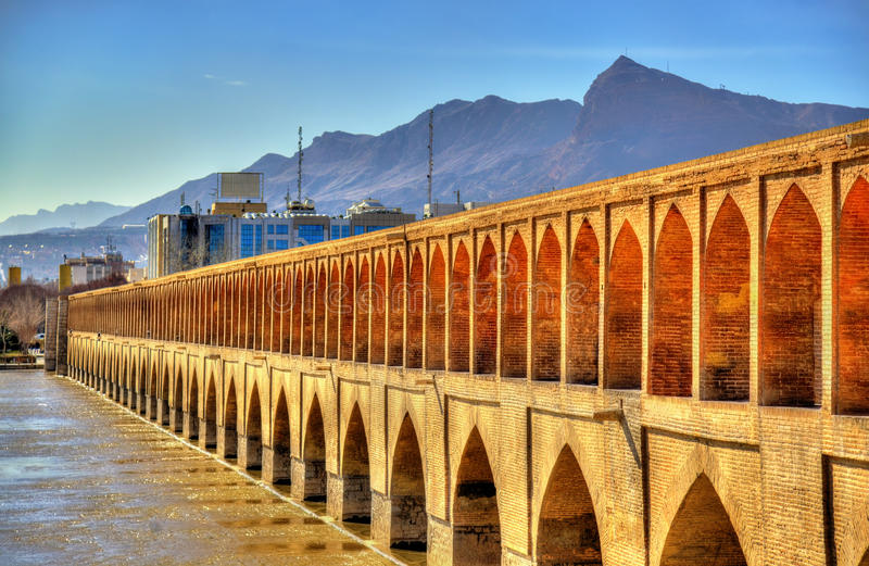 Allahverdi Khan Bridge (Si-O-seh Pol) in Isfahan lizenzfreie stockbilder