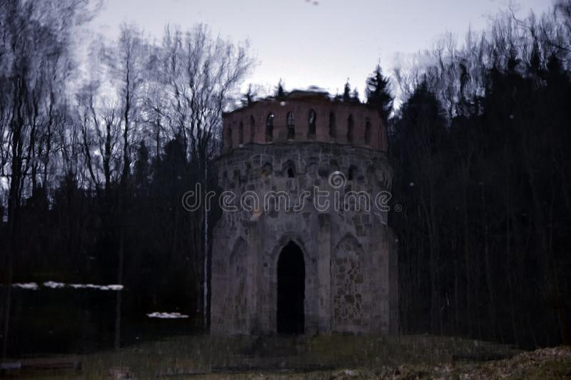 Allain`s Tower - Old Hunting Place for Aristocrats - Lake Reflection. Allain`s Tower - Old Hunting Place for Aristocrats in Bohemian Paradise in Czech republic royalty free stock images
