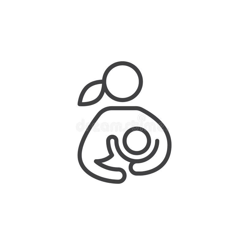 Allaitement au sein, femme allaitant sa ligne icône, signe de vecteur d'ensemble, pictogramme linéaire d'enfant de style d'isolem illustration stock