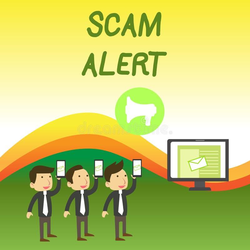 Allarme concettuale di Scam di rappresentazione di scrittura della mano Email non sollecitato del testo della foto di affari che  illustrazione vettoriale