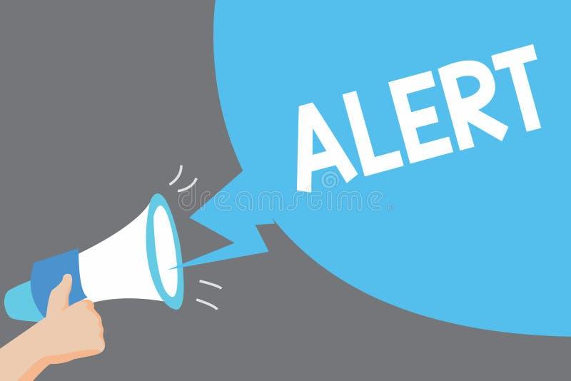 Allarme del testo di scrittura di parola Concetto di affari per un avvertimento del segnale di annuncio del pericolo lo stato di  illustrazione vettoriale