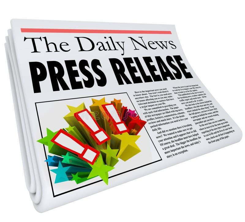 Allarme di annuncio del titolo di giornale del comunicato stampa illustrazione vettoriale