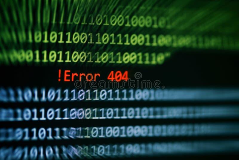 Allarme di dati di numero di codice binario di tecnologia! Messaggio di errore 404 sul software di errore di problema dello scher immagini stock