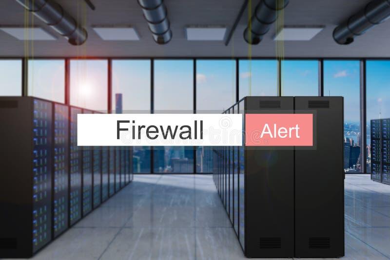 Allarme di firewall nella grande visualizzazione moderna dell'orizzonte della stanza del server della barra rossa di ricerca, ill illustrazione vettoriale