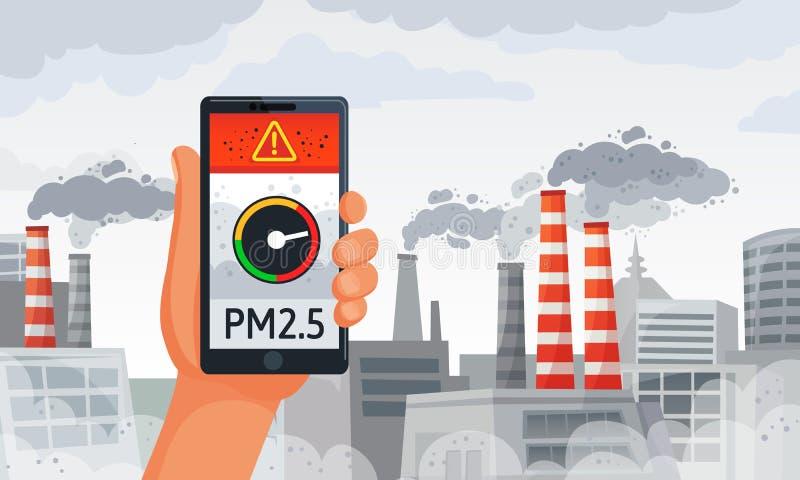 Allarme di inquinamento atmosferico Pm2 notifica dello smartphone del tester di 5 allarmi, aria sporca ed illustrazione sporca di illustrazione di stock