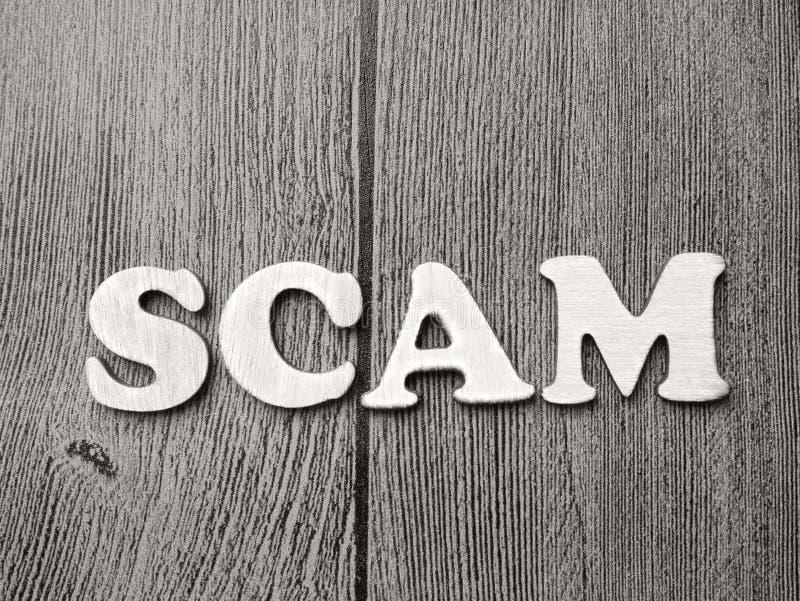 Allarme di Scam, concetto fraudolento di citazioni di parole di Internet fotografie stock libere da diritti