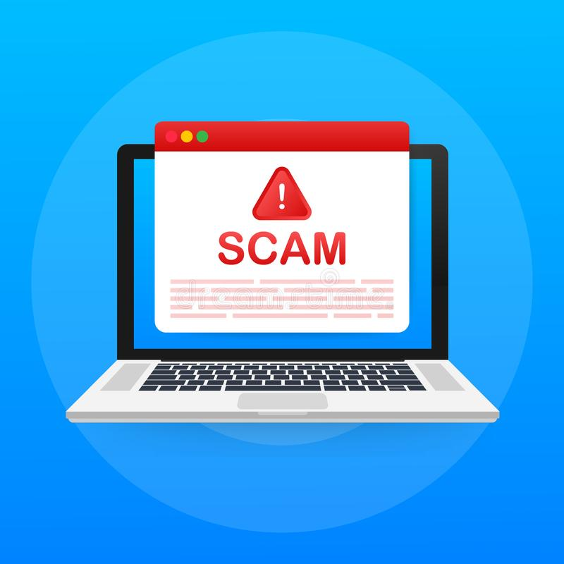 Allarme di Scam Concetto di vettore di attacco del pirata informatico e di sicurezza di web, raggiro phishing Sicurezza di Intern royalty illustrazione gratis