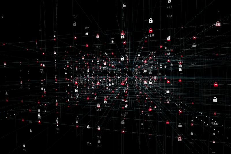 Allarme di sicurezza di tecnologia di Internet immagine stock