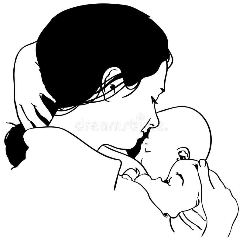 Allattar al senoe l'illustrazione di vettore della madre dai crafteroks royalty illustrazione gratis