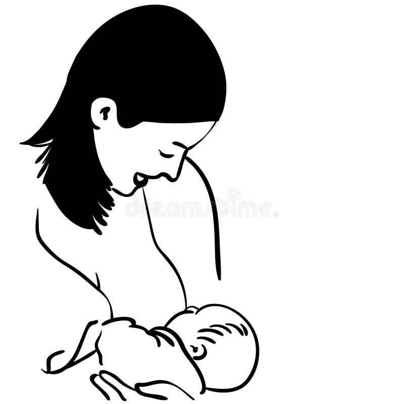 Allattar al senoe l'illustrazione di vettore della madre dai crafteroks illustrazione di stock