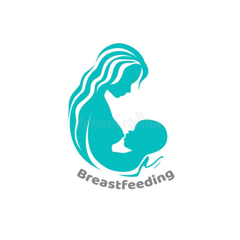 Allattar al senoe la siluetta blu-chiaro della madre e del bambino ha isolato l'illustrazione illustrazione di stock