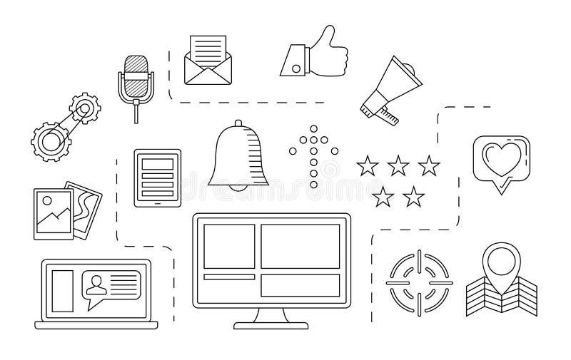 Alle auf weißem Hintergrund Internet-Kommunikationsthema vektor abbildung