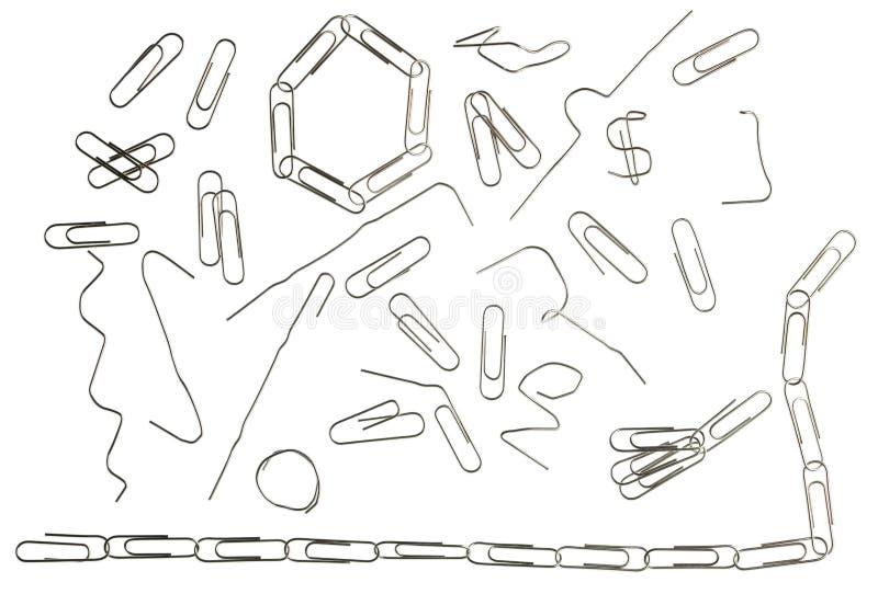 Alle bestaande vormen van paperclippen in gebruik. vector illustratie