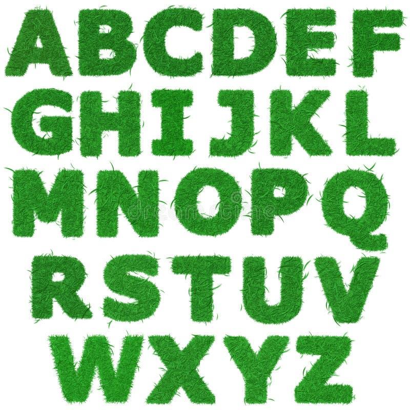 Alle brieven van groen grasalfabet vector illustratie