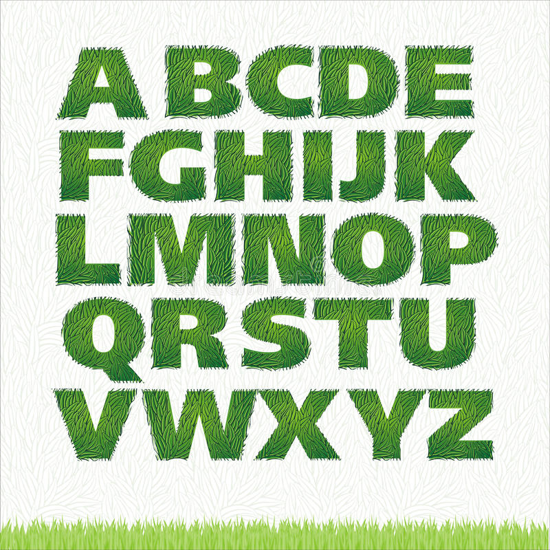 Alle brieven van groen grasalfabet stock illustratie