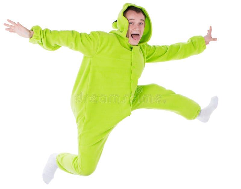 Alle der Mann, der als Clown in einem Nightie/Trickzeichner am Tag des lustigen Dummkopffeiertags der Geburt für gekleidet wird,  lizenzfreies stockbild