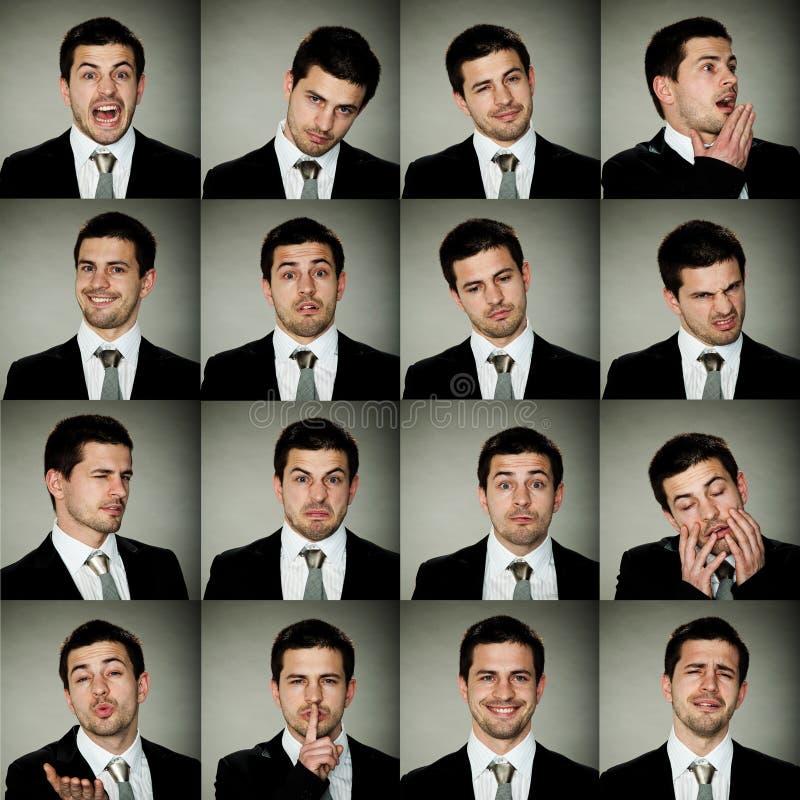 Alle emoties, bedrijfsmens in vele opties van emoties royalty-vrije stock foto