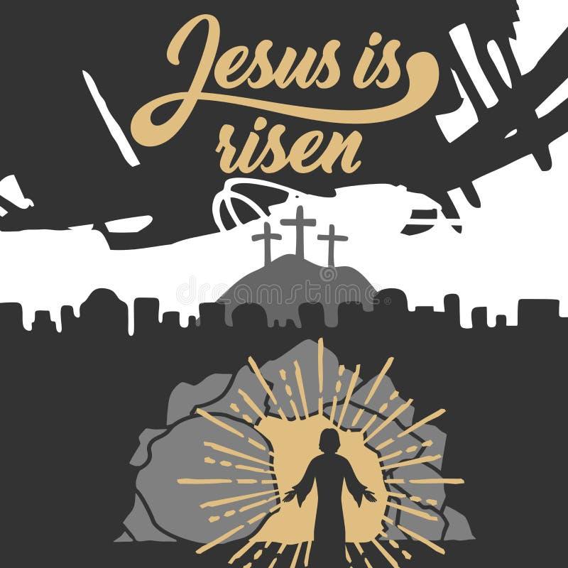 Alle EPS8, zerteilt geschlossen, Möglichkeit, um zu bearbeiten Jesus Christus wird gestiegen vektor abbildung