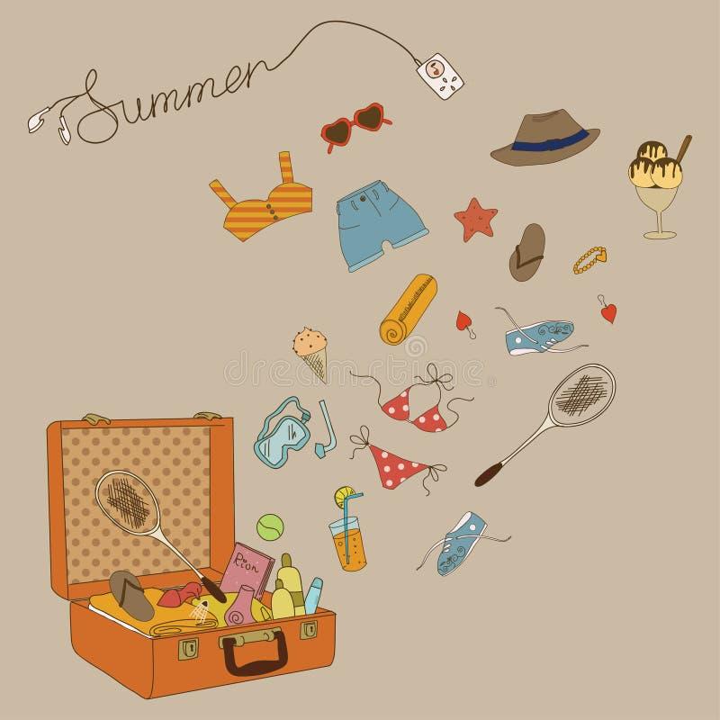 Alle für die Sommerferien. Koffer mit Sachen und jeder Kleinigkeit. Genießen Sie Ihre Sommerferien! lizenzfreie abbildung